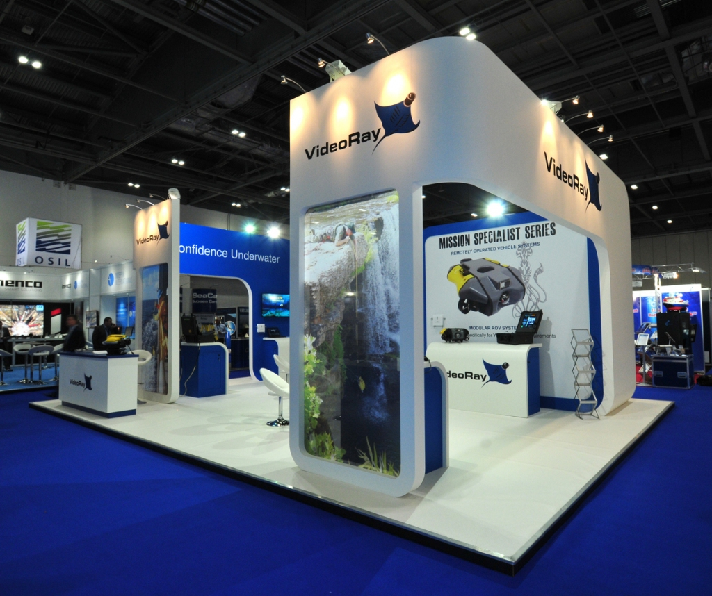 VideoRay Bespoke Island Exhibition Stand at Ocienology, ExCel Centre.