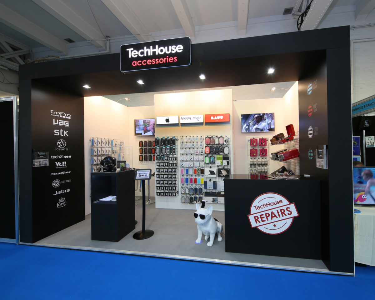 Exhibition Stand Design Brief : Techhouse accessories exhibition stand bespoke inspire