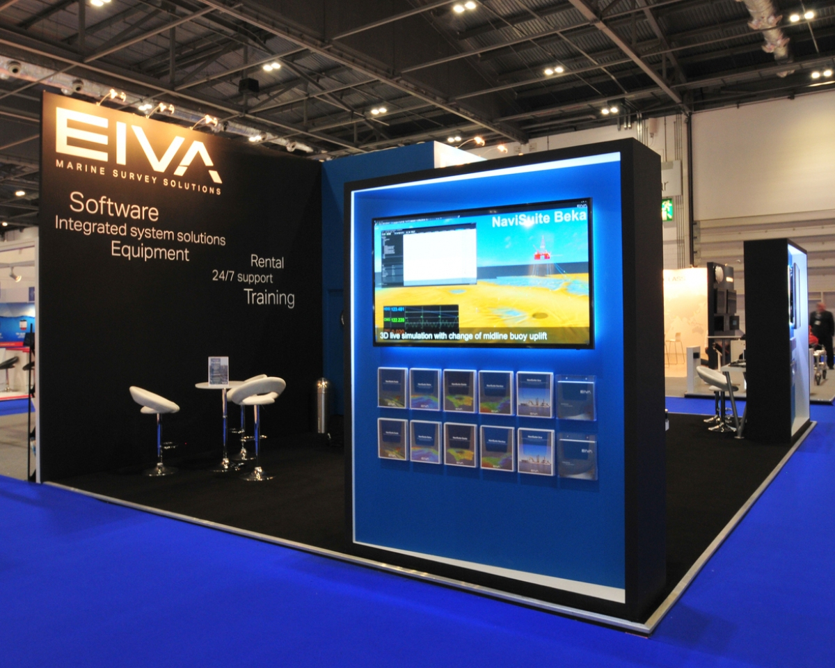 An 8x6, bespoke exhibition stand designed for Eiva at Ocienology 2016. We won this client after we were recommended to them an American exhibitor at this show.